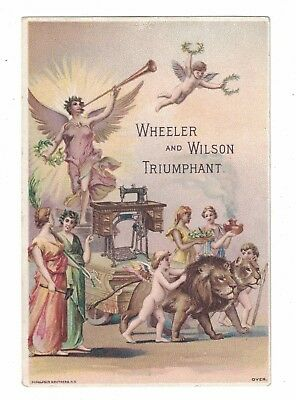 Wheeler &  Wilson Sewing Machines Victorian Trade Card - Angels Lions Triumphant