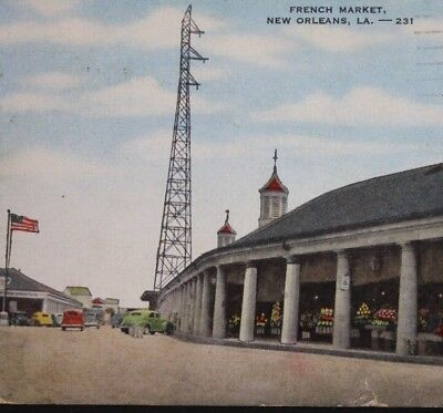 Postcard French Market New Orleans Louisiana Old Cars American Flag Food