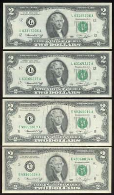 (2) Consecutive Pairs 1976 $2 TWO DOLLAR Federal Reserve Notes - (4) Notes Total