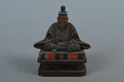 M7591: Japanese Wood carving DOLL Statue sculpture Ornament Buddhist art