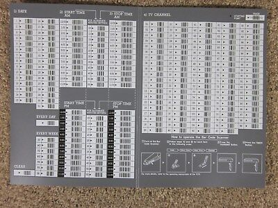 Vintage - VCR - Bar Code - Programming Sheet