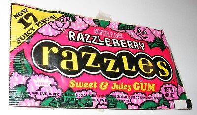 Vintage 1970s Fleer Razzleberry Razzles 17pc Pack Still Sealed Candy/Gum Package
