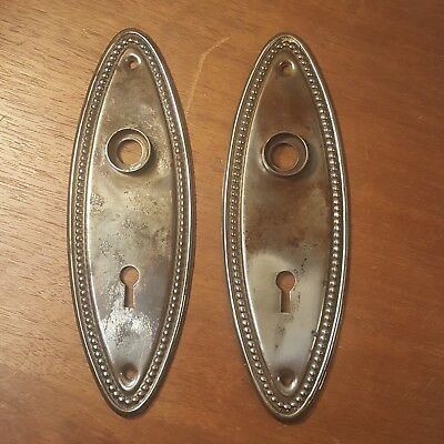 Pair of Victorian Vintage Antique Skeleton Key Door Plate Escutcheon