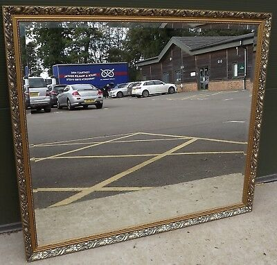 Large Decorative Gilt-Framed Wall Mirror in the Antique Style (125cm x 108cm)