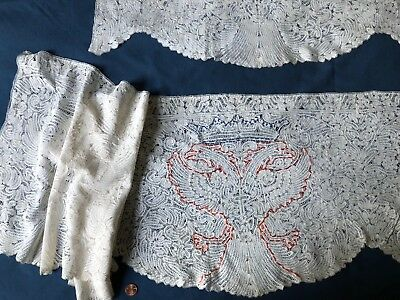 Antique East Europe Russian handmade bobbin lace Crowned Double Eagle COLLECTOR