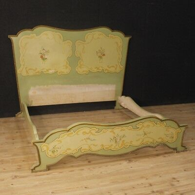 Double bed antique furniture lacquered painted wood style Art Nouveau bedroom