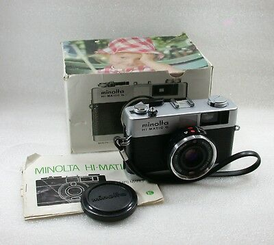 Minolta Hi-Matic G Compact Point and Shoot 35mm Film Camera No. 0052125