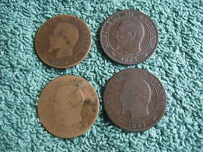 4 x Antique France French Coins 5c 1854, 1855, 1856, 1857 Napoleon III