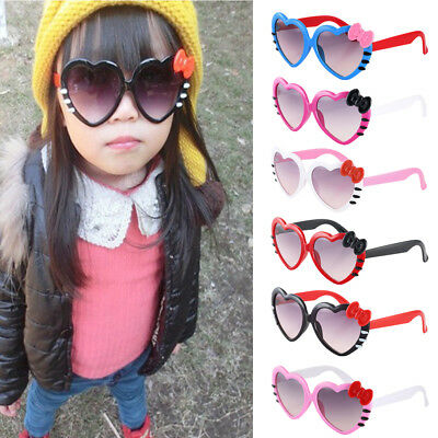 Cute Baby Kids  Boys Girls Love Heart Goggles Sunglasses Bowknot Anti-UV Glasses