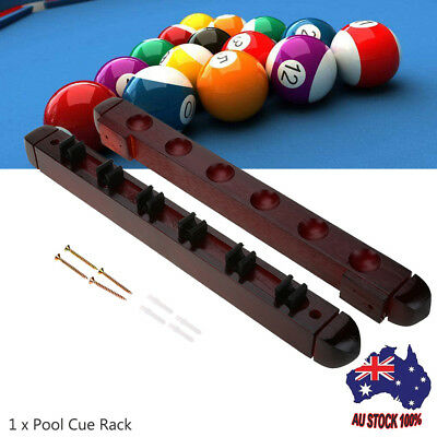 1PCS Snooker Stick Holder Cues Rack Pool Billiard Wall Mounted Wooden Game AU