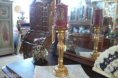 Beautiful Candlestick Holders Made of Plaster and Wood (Gold Plated)