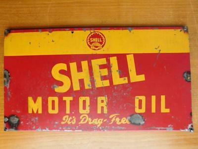 Genuine Vintage Shell Motor Oil Advertising Steel & Enamel Sign 'Its Drag Free'