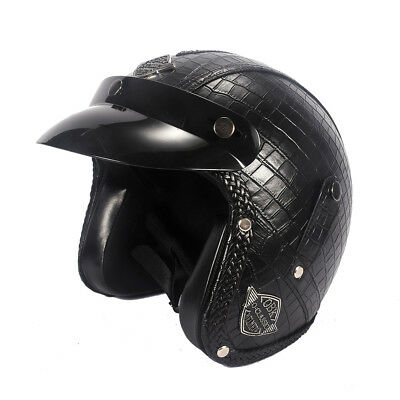 3/4 Open Face Helmet Motorcycle Vintage Half Biker Cruiser Scooter Touring Black