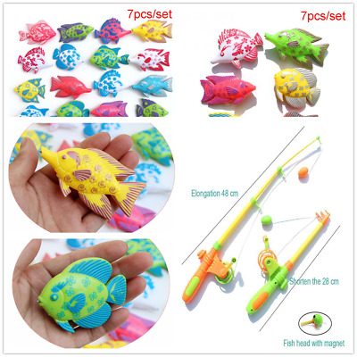Children's Magnetic Fishing Toy Plastic Rod Fish Fun Game Baby Bath Toys Gift