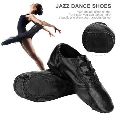 Child Adult Leather Slip On Jazz Shoes Split Sole All Sizes Black 190MM-275MM DY