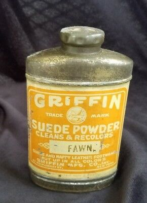 Old Advertising Tin GRIFFIN Suede Powder Clean Recolor Suede Leather New York