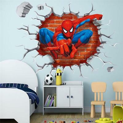 3d Spiderman 3D Wall Stickers Avengers Marvel Superhero Crack Vinyl Decal Boys J  sc 1 st  PicClick UK & 3D SPIDERMAN 3D Wall Stickers Avengers Marvel Superhero Crack Vinyl ...