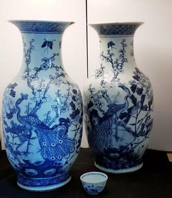 A STUNNING PAIR OF LARGE ANTIQUE 18th/19th CENTURY CHINESE PHOENIX VASES