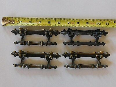Lot of 4 Vintage Antique Victorian Brass Dresser Drawer Handle Pulls Hardware
