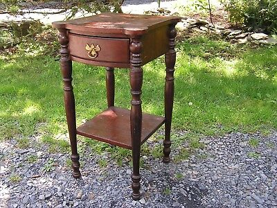 Antique American Hitchcock Drawer Night Stand Primitive Table Sheraton 1800s