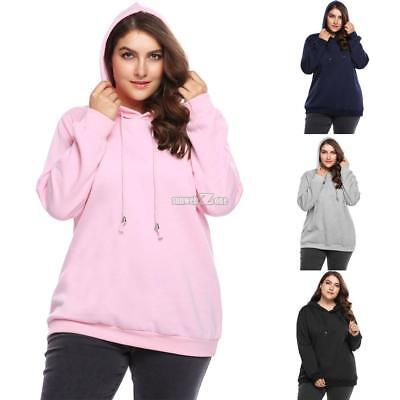 81d6e4f7b7a Women Casual Plus Size Long Sleeve Fleece Solid Pullover Hoodie with RR6