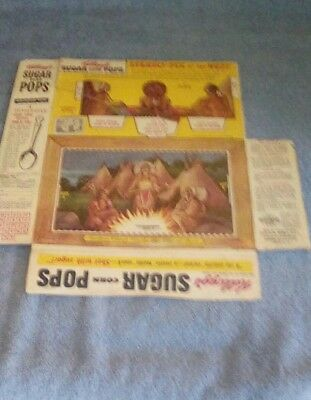 Cereal Box empty 1954 Kellogg's Sugar Pops mail spoon offer Indians Stereo-Pix