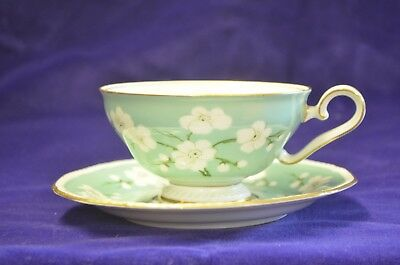 royal tettau footed tea cup saucer germany us zone mint green white