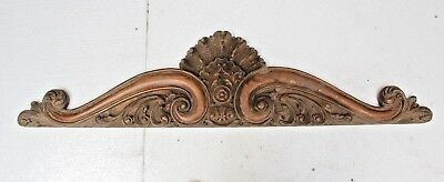 """Stunning 47"""" Hand Carved Wooden Gothic Fancy Wall Mirror Top Plaque Carving"""