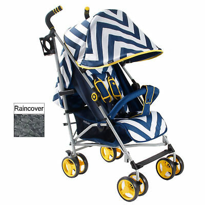 New My Babiie Blue Chevron Mb02 Pushchair Compact Stroller With Raincover