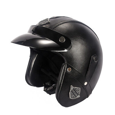Open Face Helmet Leather Motorcycle Half Biker Cruiser Scooter Touring Black 1
