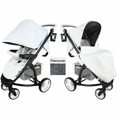 New My Babiie White Mb200 Katie Piper Pushchair Compact Stroller With Raincover