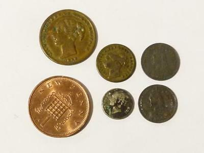 5 x Victorian Mixed Group Toy Money Model Miniature Coins Iron & Brass #42