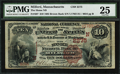1882 $10 NBN Milford, MA - Brown Back - FR.487 Charter 2275 - PMG 25 - VF