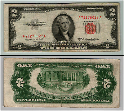 1953B $2 Dollar Bill Old Us Note Legal Tender Paper Money Currency Red Seal W401