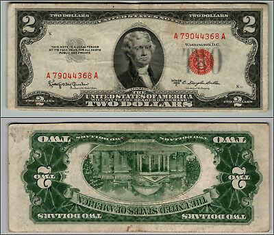 1953C $2 Dollar Bill  Us Note Legal Tender Paper Money Currency Red Seal P737
