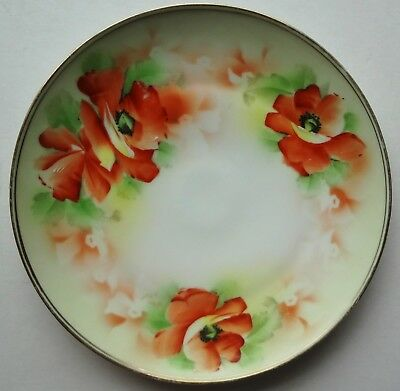 "c1890 HTF ROYAL RUDOLSTADT studio decorated 8 1/2"" POPPY painted PLATE - PRUSSIA"