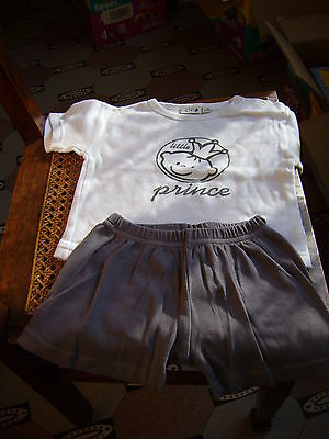 "Ensemble short gris + t-shirt blanc CIRIO ""little prince"" taille 6-9 mois"