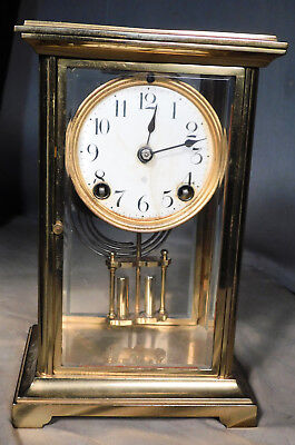 Antique Ansonia Crystal Regulator Brass Glass Clock Porcelain Dial AS IS CUTE