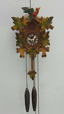 Vintage Black Forest Cuckoo Clock Carved Detail
