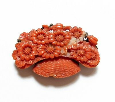 Stunning Old Antique Victorian 19Th C Chinese Carved Coral Floral Spare Af (A13)