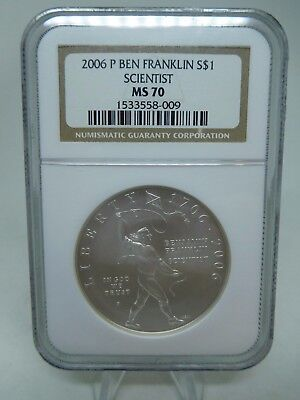 2006 US Silver Ben Franklin Scientist Dollar MS70 By NGC