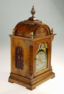 Fine Antique Bur Walnut & Brass mount Ting Tang Bracket Clock