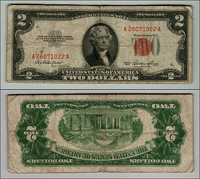 1953 $2 Dollar Bill Old Us Note Legal Tender Paper Money Currency Red Seal Z593