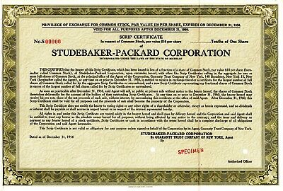 Studebaker Packard of Michigan 1954 SPECIMEN Stock Certificate - olive