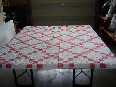 Antique Red and White Irish Chain Quilt
