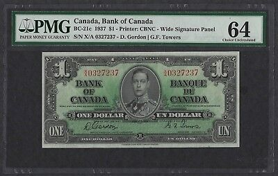 Canada 1937 P-21c Choice UNC 64 EPQ $1 Dollar
