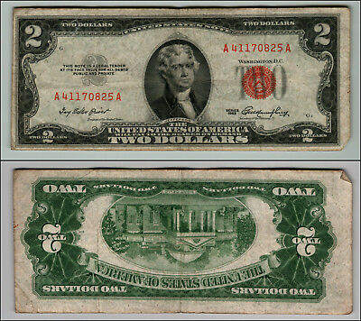 1953 $2 Dollar Bill Old Us Note Legal Tender Paper Money Currency Red Seal P664