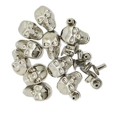 10 Sets Skull Studs Punk Rivets Buttons for DIY Clothes Bag Leather Craft Decor