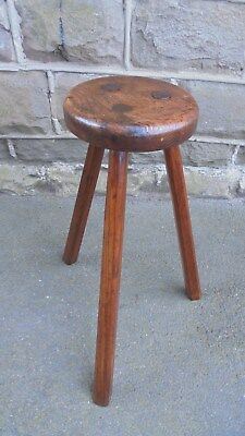 Antique Primitive Elm Tall Stool