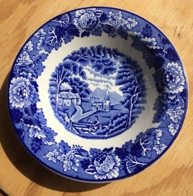 """Vintage Enoch Woods Flow Blue Transfer Ware """"English Scenery"""" Berry Bowl 5 1/2"""""""
